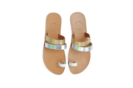 Picture of Kardia Asteria Gold Silver And White Straps Sandals