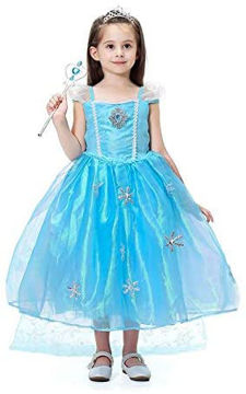 Picture of Elsa Princess Dress With Short Sleeves, Blue, 5 - 6 Years
