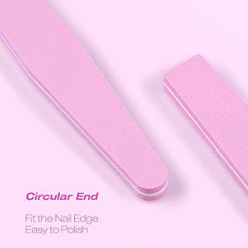 Picture of Nail Files 100/180 Grit Pink Washable Double Sided Nail Files Buffers