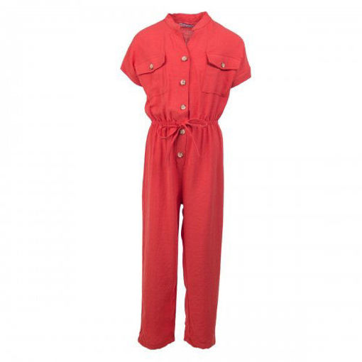 Picture of Mutlu Linen Jumpsuit with Chest Pocket and Drawstring Waist
