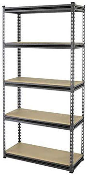 Picture of 5 Level Bolt Free Wooden Shelf With Metal Frame - Gray & White