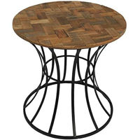 Picture of Yatai 1- Tier Round Wooden Side Table with Metal frame