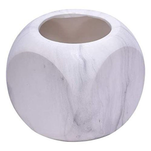 Picture of Modern Marble Round Ceramic Vase, White