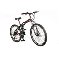 Picture of Land Rover Sturdy Carbon Steel Foldable Bicycle, Black & Red