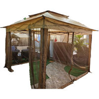 Picture of Portable and Foldable Gazebo with Curtains, Brown