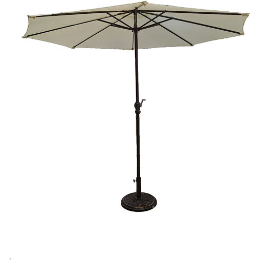 Outdoor Garden Umbrella with Base, 250cm, Beige Online Shopping