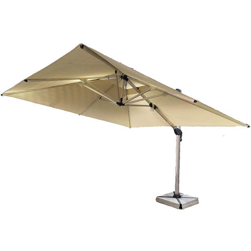Outdoor Garden Umbrella with Marble Base, Beige Online Shopping