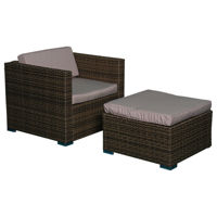Picture of Outdoor Garden Rattan Sofa With Foot Rest, Beige