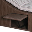 Outdoor Garden Foldable Rattan Striped Sunlounger with Cushion Storage, Brown Online Shopping