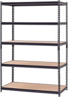 Picture of Takako 5 Tier Bolt Free Wooden Shelf With Metal Frame, Gray - 150x40x200