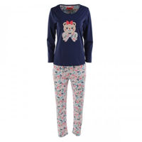 Picture of Joanna Cute Bear and Bow Long Sleeves Ladies Pajama Set