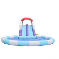 Picture of Rainbow Double Bouncy Slides Jumping Pad with Slide, Multi Colour
