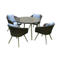 Picture of Swin Outdoor Garden Rattan 4 Dining Set, Brown & White - HO474-SF