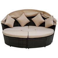 Picture of Swin Outdoor Garden Rattan Round Daybed Sofa Set, Beige - H0373-BL