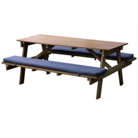 Picture of Outdoor Teak Wood Picnic Table With Cushions, Beige & Navy Blue