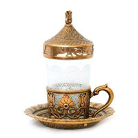 Picture of Concord Turkish Coffee Cup with Lid and Saucer, Bronze & Clear