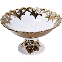 Picture of Appetizer Serving Platter Tray Candy Storage Bowl, White & Gold