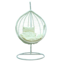 Picture of Rattan Swing Chair With Cushion - White & Beige
