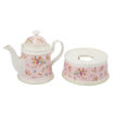 Ceramic Tea Pot and Warmer Stand with Cups and Saucers, Pink Online Shopping